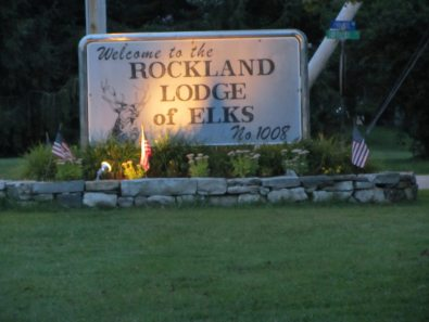 The Elks club sign at night time