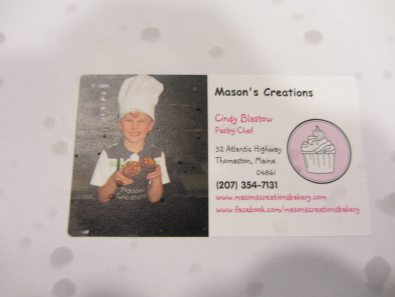 Label on the Cupcake Box showing that cupcakes are Mason's Creations Originals.