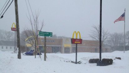 McDonalds in Rocland Maine was closed due to the blizzard, Nemo. No cars, but there are snowmobiles - a good way to get around during a storm like this one.