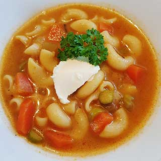 Springtime soup with pasta or noodles