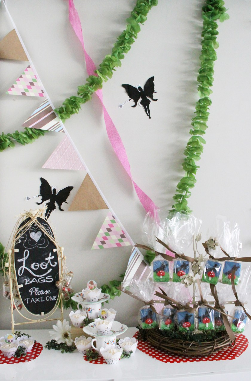 Woodland Fairy Birthday Party cookies and loot bags