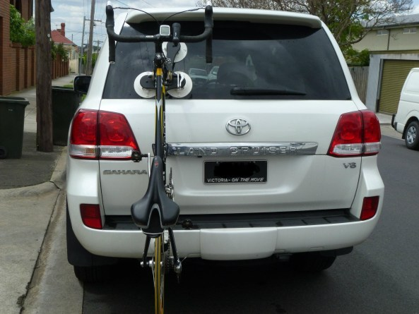 Toyota Land Cruiser with SeaSucker Talon Bike Rack - Rear View