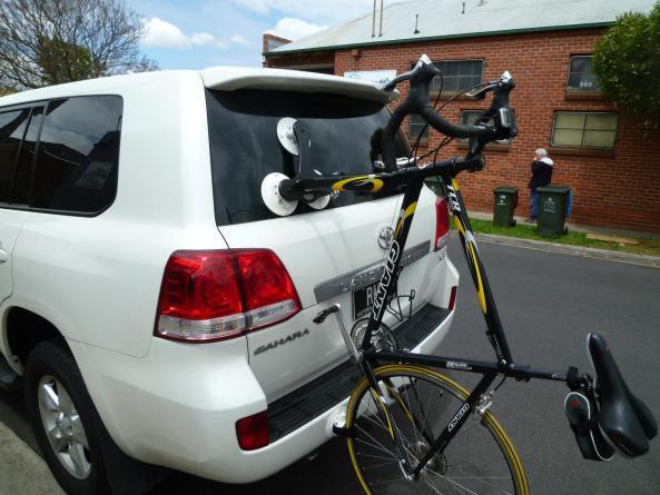 Toyota Land Cruiser with SeaSucker Talon Bike Rack - Side View