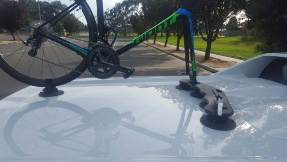 HSV Maloo Ute with SeaSucker Mini Bomber 2 bike rack
