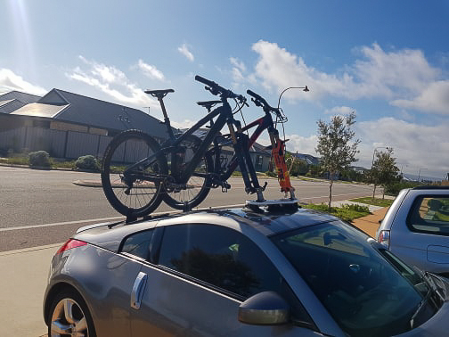 Nissav-350z Bike Rack with a SeaSucker Mini Bomber