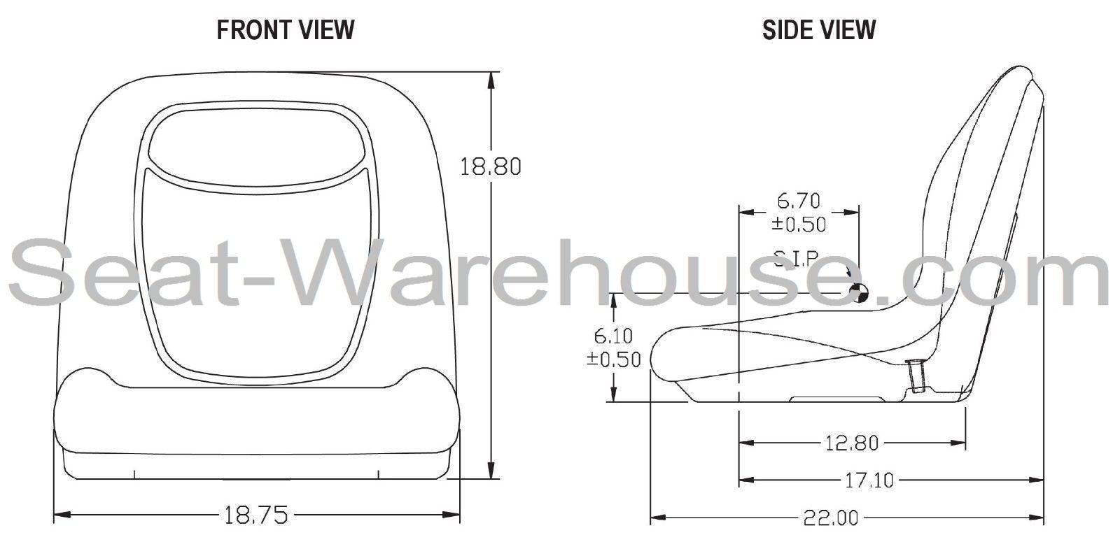 Gray High Back Seat W Slide Track Kit For Case Skid Steer