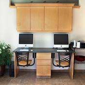 desk chairs, black, metal back