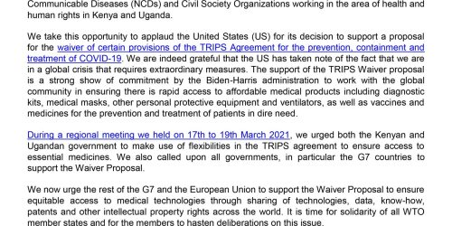 KENYA AND UGANDA COMMUNITIES AND CIVIL SOCIETY STATEMENT ON THE COVID-19 TRIPS WAIVER