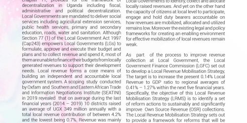 CSO FEEDBACK ON THE DRAFT LOCAL  REVENUE MOBILISATION STRATEGY