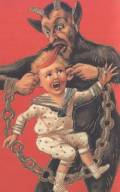 Krampus card with boy and chain