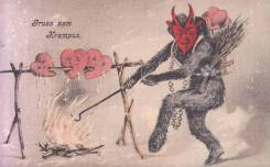 Krampus card with hearts