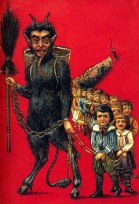 Krampus card leading a line of children like the Pied Piper