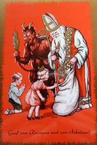 Krampus card with Saint Nik