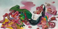 "Gregory Jacobsen, Guts in Lady Shoes, 2015, oil on panel, 12"" x 24"" photo: Tom VanEynde"