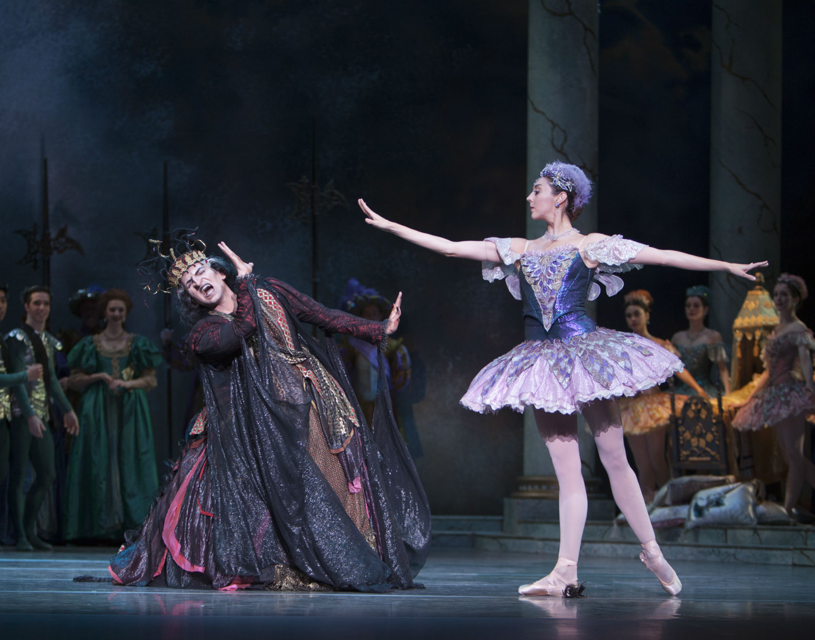 dbc8014b7e27 Pacific Northwest Ballet principal dancers Jonathan Porretta as the wicked  fairy Carabosse, and Laura Tisserand as the Lilac Fairy, in Ronald Hynd's  The ...