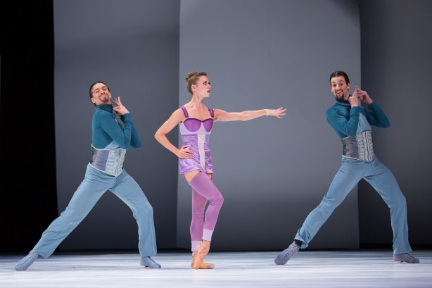 Cinderella's stepmother (Pacific Northwest Ballet principal dancer Lesley Rausch) with the Pleasure Superintendents (l-r corps de ballet dancers Steven Loch and Miles Pertl). Photo © Angela Sterling.