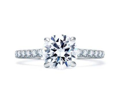A.JAFFE Delicate Round Diamond Center Quilted Engagement Ring, ME1850Q