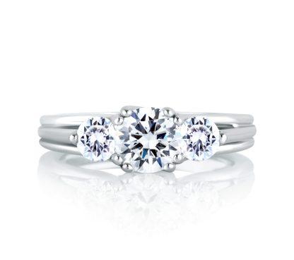 A.Jaffe Three Stone Trellis Diamond Engagement Ring