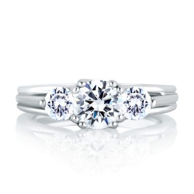A.Jaffe Three Stone Trellis Diamond Engagement Ring
