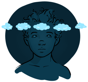 Mindfulness person with clouds