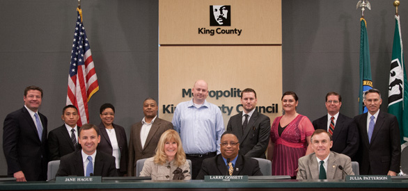 HERO Program graduates with the King County Council and King County Executive Dow Constantine.