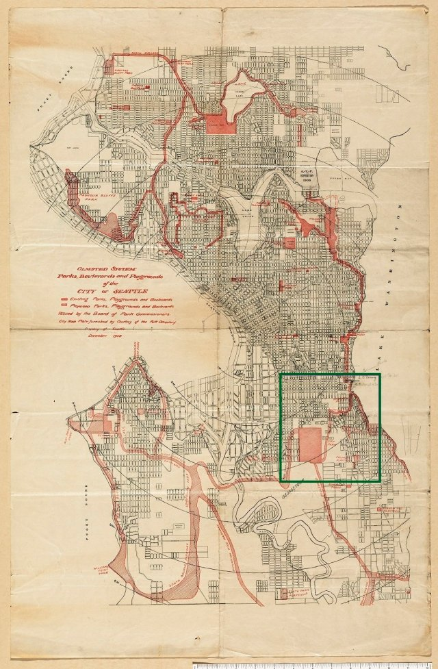 "Yellowed line drawn map of Seattle with sites and routes across the city hatched in red. Map is titled, ""Olmsted System, Parks, Boulevards and Playgrounds of the City of Seattle."""