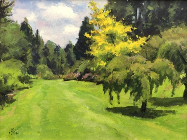 painting of lawn surrounded by green vegetation