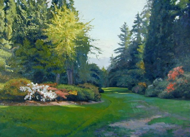 painting of wide lawn path leading past flowering azalea shrubs