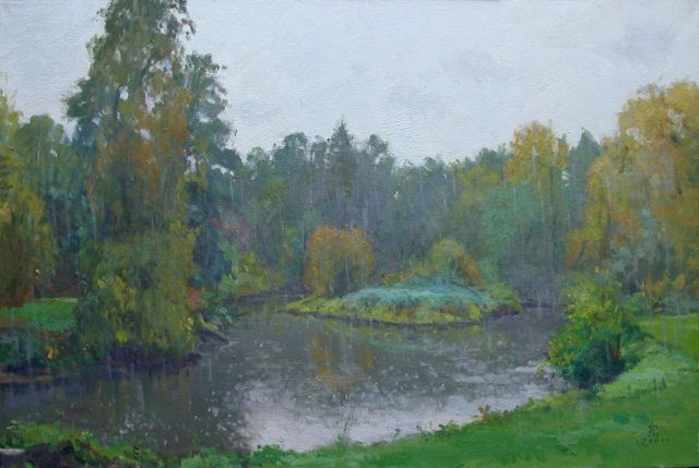 painting of pond and island with lawn and trees