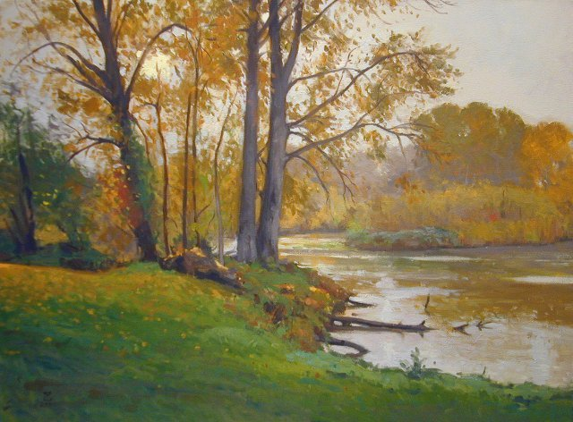 painting of pond shoreline with yellow autumn foliage
