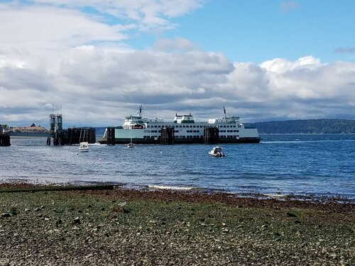 photo of car ferry on sunny day