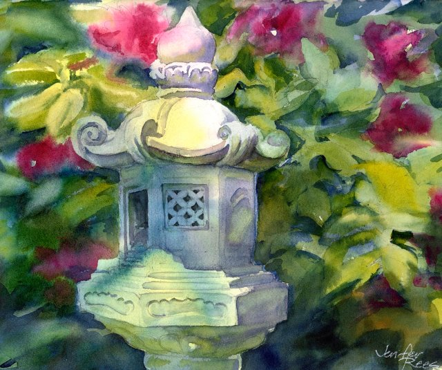 watercolor of Japanese-style stone lantern with flowering shrub behind