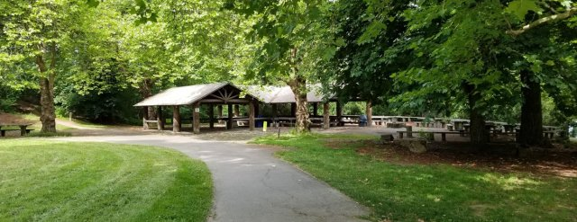 photo of picnic shelter and path