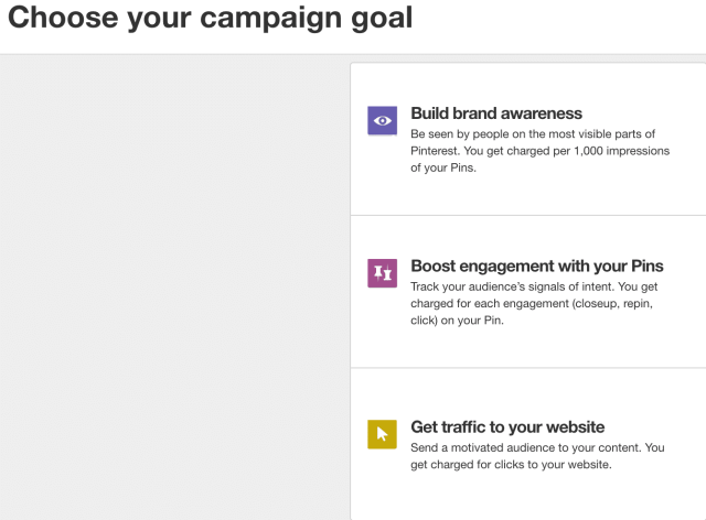 Pinterest Ads - types of campaigns