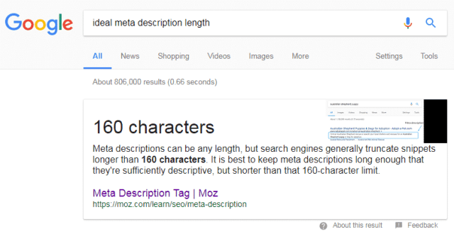 Ideal meta description length by moz
