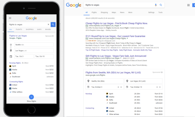 mobile and desktop serps