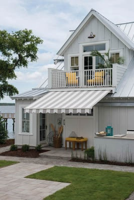 Retractable and solar-powered awnings