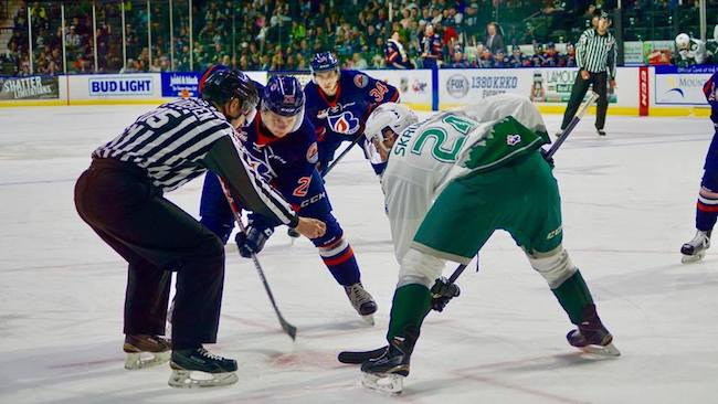 Everett Silvertips' defenseman Lucas Skrumeda taking the face-off against Kamloops (Photo Seattle Sports Union's Brian Kemp)