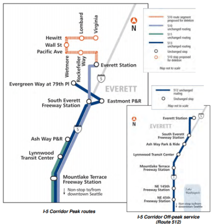 Map of Proposed Sound Transit Seattle-Everett Express Service Restructure