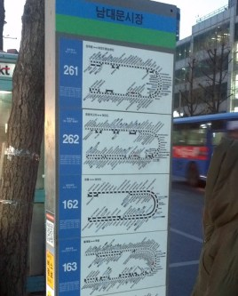 Line maps at a Seoul bus stop