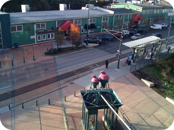 Tacoma Link tracks and Freighthouse Square from Tacoma Dome Station (Flickr User Aleferrari)