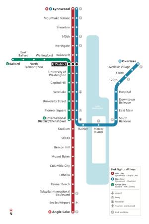 Ballard-Downtown via UW. Map by Oran.