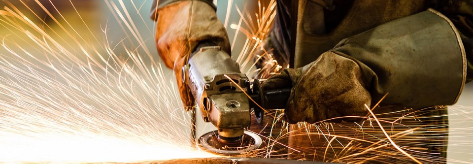metal sparks and safety gloves