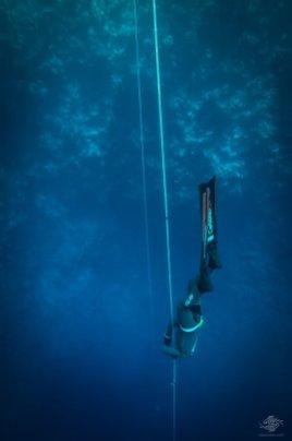 Gus Kreivenas free-diving at blue hole dahab