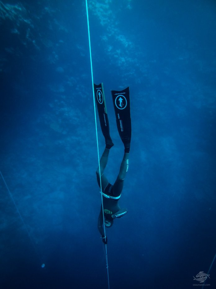 Gus Kreivenas free-diving at blue hole dahab