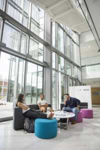 The collaborative spaces promote casual and scholarly interactions among students, faculty, and staff.