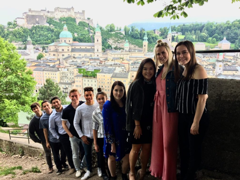 The study abroad group headed to a dinner and concert in Salzberg, Austria
