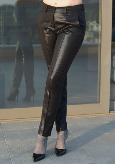 BLACK LEATHER-LOOK SLIM FIT TROUSERS