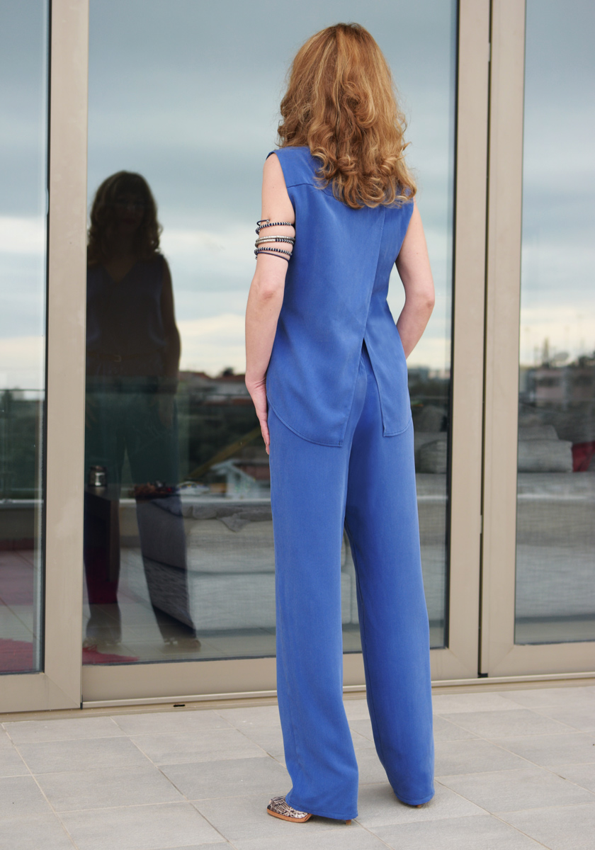 JUMPSUIT WITH CAPE EFFECT blue