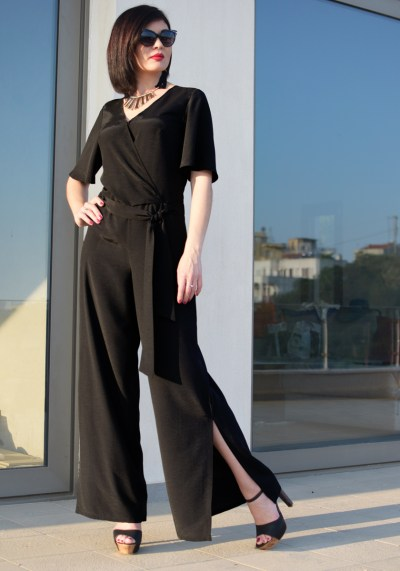 BLACK EVENING MAXI JUMPSUIT